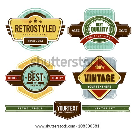 Vector set of grunge retro badges. - stock vector