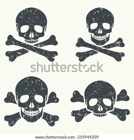 Vector set of grunge skulls. Black silhouette on a white background, isolated, EPS 8. - stock vector
