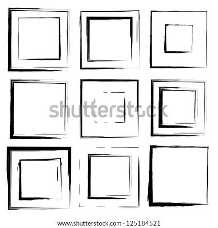 Vector set of grunge square brush strokes for frames, icons, design elements - stock vector