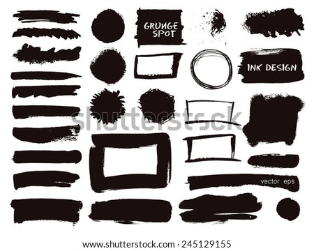 Vector set of grunge watercolor brush strokes.  Hand drawn paint brush strokes. Black collection of black vector oil paint brush strokes isolated on white background. - stock vector