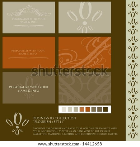 Vector set grunged rough ink style stock vector 14412658 shutterstock vector set of grunged rough ink style flourish business card designs includes color palette reheart Gallery