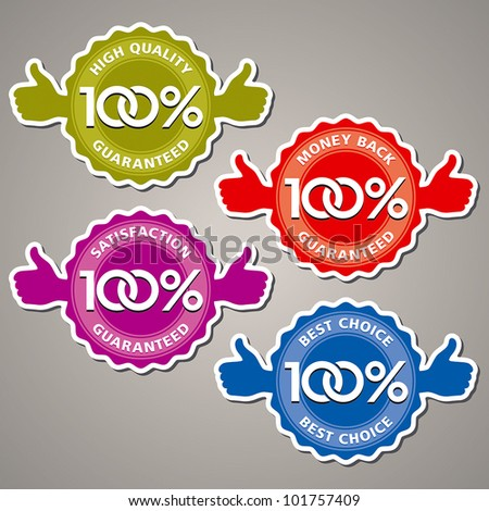 Vector set of 100% guarantee - stock vector