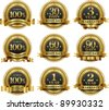Vector set of 100% guarantee golden labels - stock vector