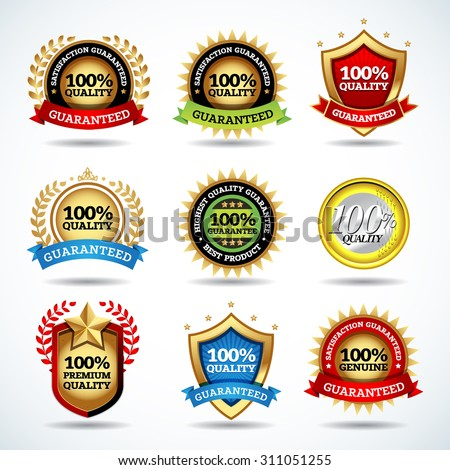 Vector set of 100% guarantee labels, stamps, banners, badges, crests, labels. Vector isolated design. - stock vector