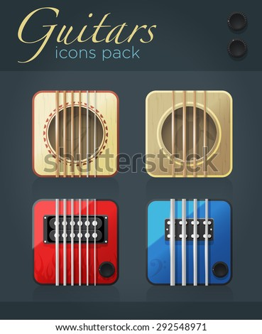 Vector set of guitar icons for music software, acoustic and electric musical instruments, eps10  - stock vector