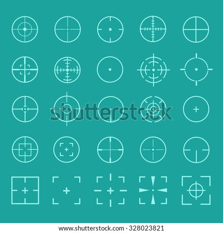 Vector set of gun sights. Design crosshairs, target, weapons aiming. Diverse set of round and square sights.