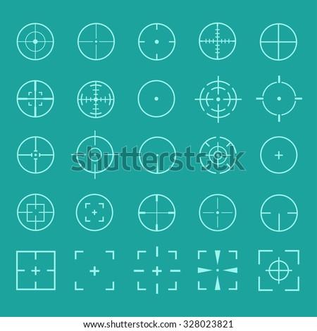 Vector set of gun sights. Design crosshairs, target, weapons aiming. Icons gun sight,  gun target, gun scope. Diverse set of round and square sights. Vector set of crosshairs. - stock vector