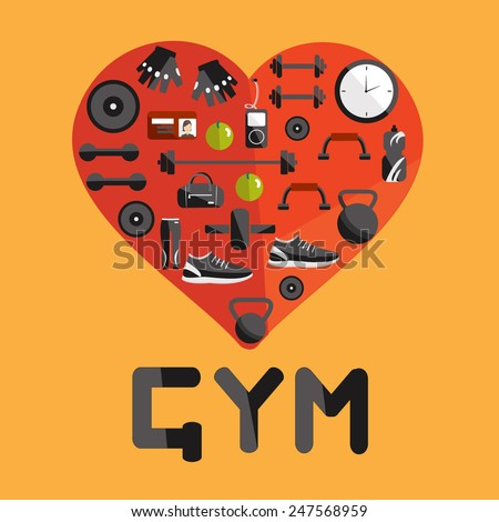 Vector set of gym in flat design. Fitness elements. Vector fitness set. Fitness woman set. Vector flat design of fitness. Fitness details. Fitness woman. Fitness equipments. Fitness graphic. - stock vector