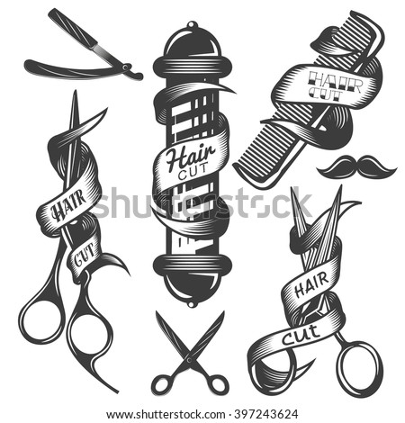 Vintage Barber Clipart Vector Set Hair...