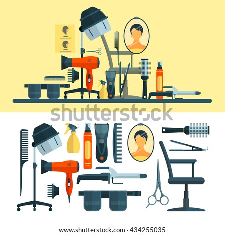 Vector set of hairdresser objects and tools isolated on white background. Hair salon equipment icons, hair hood dryer, hairdryer, comb, scissors. - stock vector