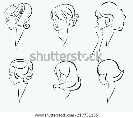 Vector set of hairstyles - stock vector