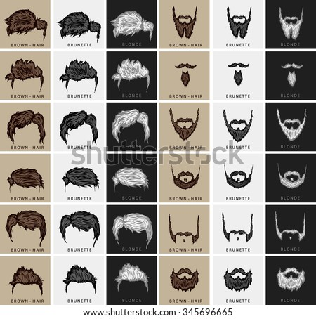 vector set of hairstyles and beards with three colors - brown, blond, brunette - stock vector