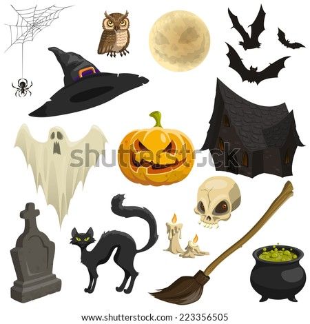 Vector set of Halloween icons - stock vector
