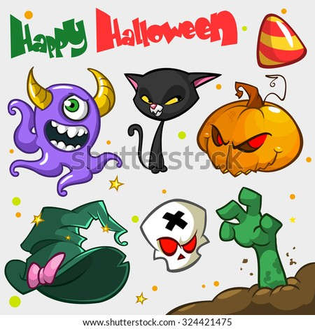 Vector set of Halloween pumpkin and attributes icons. Witch cat, pumpkin head, skull, witch hat, zombie hand, violet monster, big candy.