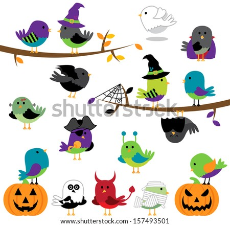 Vector Set of Halloween Themed Cartoon Birds - stock vector