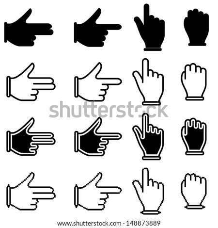 Vector set of hand cursor pictograms