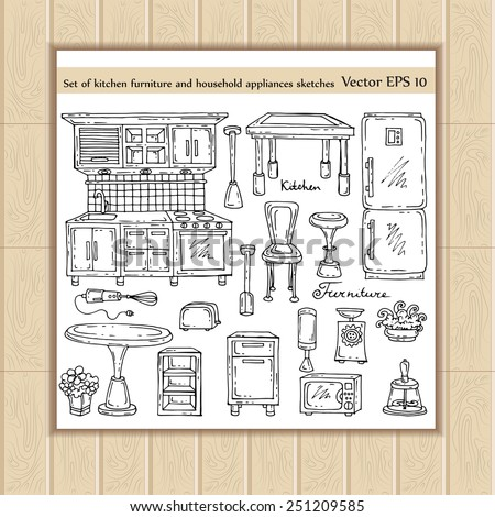 Stock images similar to id 169401587 set of hand drawn for Kitchen set drawing