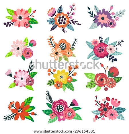Vector set of hand drawing beautiful bouquets. Floral elements for your design: flowers, berries, branches, leaves. Botanical garden set. All elements are isolated on white. - stock vector