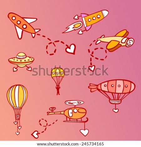 Vector set of hand drawn aircraft icons, balloon, helicopter, rocket,  flying saucer, plane, dirigible, parachute. Colorful illustration of flying vehicles with heart signs. - stock vector