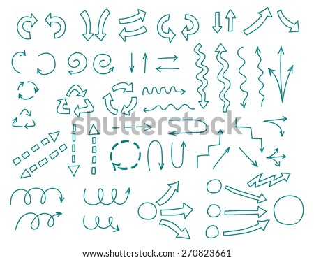 Vector set of hand drawn arrows for business presentations - stock vector