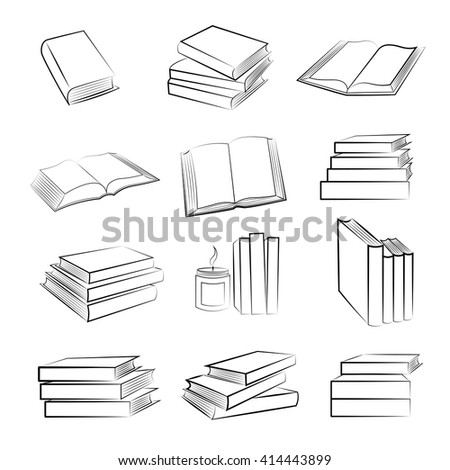 Vector set of hand drawn book icons.