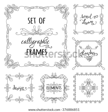 Vector set of hand-drawn calligraphic frames. Vintage linear ornaments, design elements, flourishes, ornamental page decorations and dividers. Can be used for invitations, congratulations and cards.
