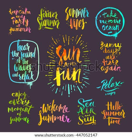 Vector Set Of Hand Drawn Calligraphy Summer Holidays And Vacation Quotes Phrases Greetings