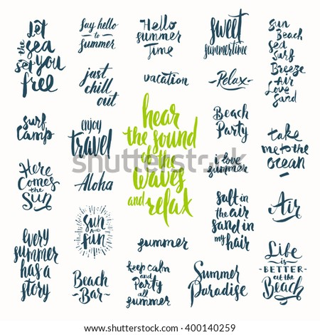 Vector set of Hand drawn calligraphy. Summer holidays and vacation quotes, phrases and words.