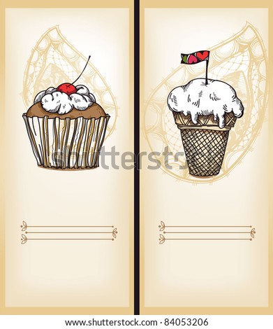 vector set of 2 hand drawn cards with a cupcake and  ice-cream