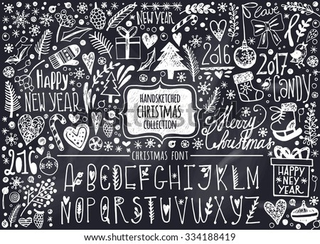 Vector set of hand-drawn Christmas elements and Christmas Alphabet. Set of Ornamental Christmas Style Elements. Spruce branches, boots, snowflakes, hearts, snow and Christmas letters. - stock vector