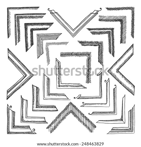 Vector set of hand drawn classical corners for any images. Isolated on white.  - stock vector