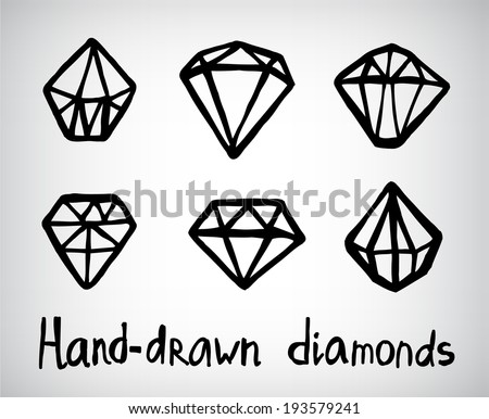 vector set of hand-drawn diamond icons, logos isolated - stock vector