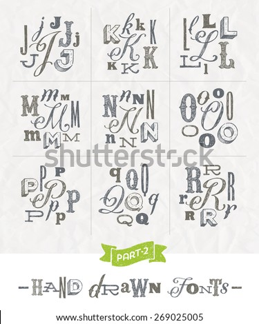 Vector set of Hand drawn different fonts for a headlines - Part two - stock vector