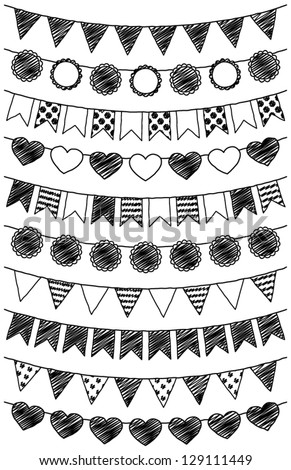 Vector Set of Hand Drawn Doodle Bunting - stock vector