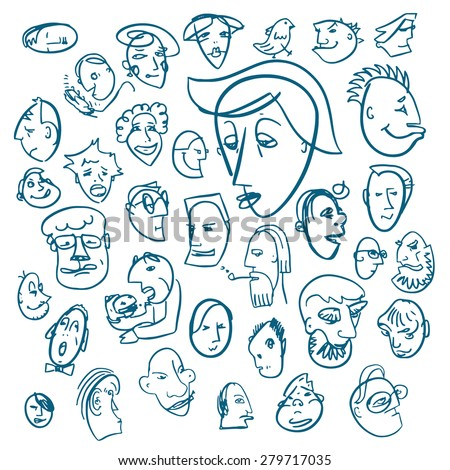 vector set of hand drawn doodle character heads - stock vector