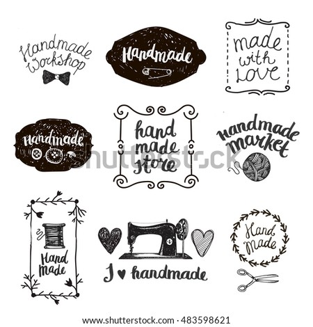 Vector set of hand drawn doodle frames, badges. Handmade, workshop, hand made shop graphic design set. Arts and crafts, sewing elements, icons, logos, badges set isolated, lettering