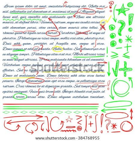 VECTOR set of hand drawn doodle icons. Elements for text correction. Green, yellow and red marks. - stock vector