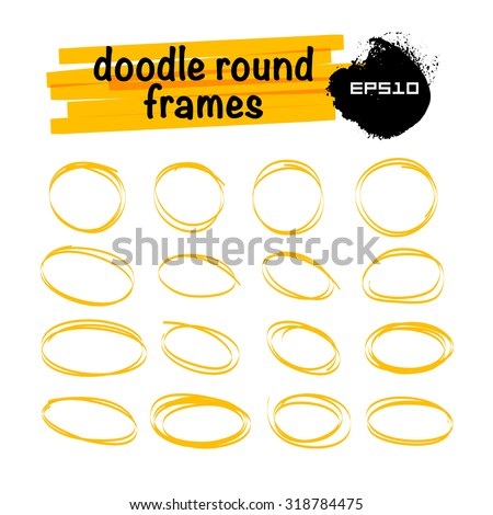 Vector set of hand drawn doodle sketch elements. Text bubbles and balloons symbol, frames and arrows isolated on light backdrop. Dialog box. Colorful paint drops. Elements for comic art design. - stock vector