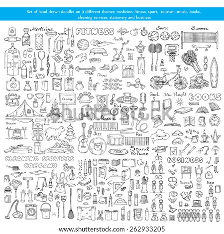 Vector set of hand drawn doodles on 9 different theme - medicine, fitness, sport, tourism, music, books, cleaning services, stationery and business. Sketches for use in design - stock vector