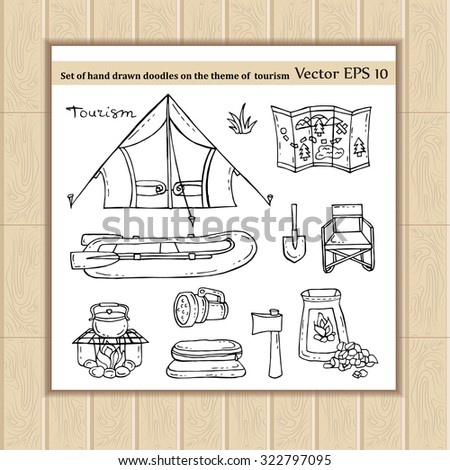 Vector set of hand drawn doodles on the theme of tourism. Symbols of tourism - tent, boat, fire, ax, shovel, map, flashlight, sleeping bag. Sketches for use in design, packing, textile, fabric