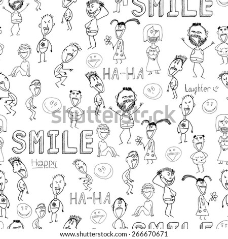 vector set of hand drawn faces, smiles isolated.  - stock vector