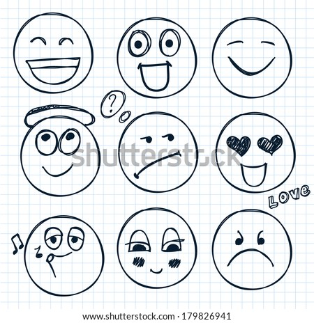 vector set of hand drawn faces, smiles, moods isolated - stock vector