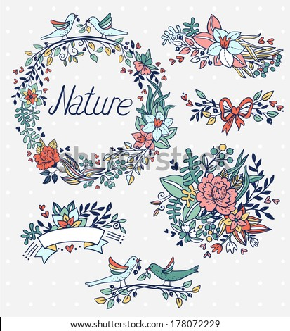 vector set of hand drawn floral  elements - stock vector