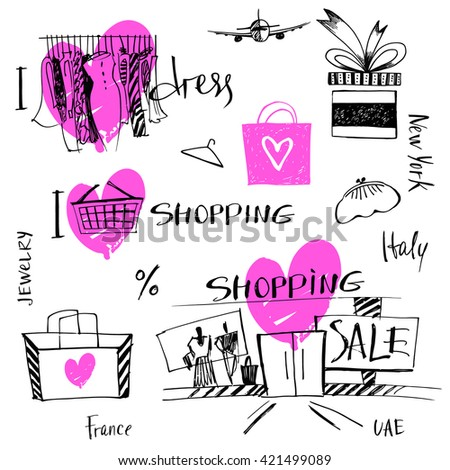 Vector set of hand-drawn for sale shopping and travel. Illustration i love shopping, discount, present, tour.  - stock vector