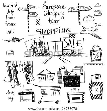 Vector set of hand-drawn for shopping and travel. Discounts, shopping tours to Europe.  - stock vector