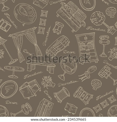 Vector set of hand drawn furniture for decoration on brown background. Sketches for use in design - stock vector