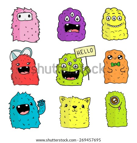 Vector set of hand drawn isolated monsters. Halloween doodle characters for your design and prints. - stock vector