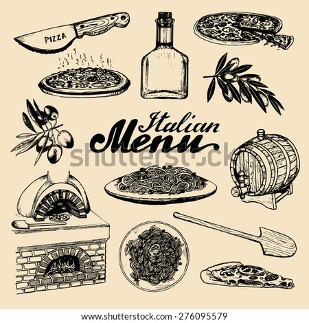 Vector set of hand drawn italian menu elements with hand lettering. Vector hand sketched traditional national italian food and drink in ink style - stock vector