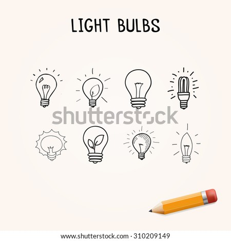 Vector set of Hand-drawn light bulbs, doodle icons - stock vector