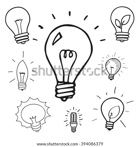 Vector set of hand drawn light bulbs, group of doodle icons - stock vector